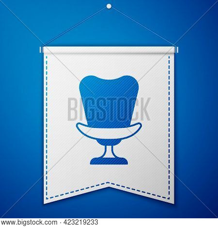 Blue Armchair Icon Isolated On Blue Background. White Pennant Template. Vector