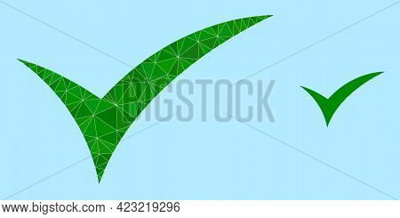 Low-poly Apply Icon On A Sky Blue Background. Polygonal Apply Vector Is Filled With Chaotic Triangle