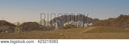A Panoramic View Of Eilat, Israel As Seen From The Desert, East Of The City, With A Clear Sky Above