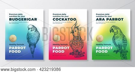 Pet Bird Food Product Label Templates Set. Abstract Vector Packaging Design Layouts. Modern Typograp