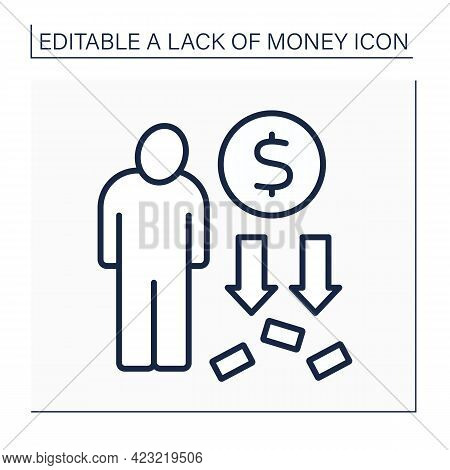 Money Line Icon. Person Loses All Cash. Total Poverty. Poorness Concept. Isolated Vector Illustratio