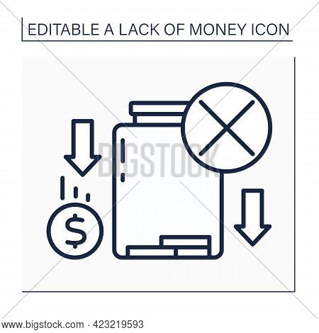 Money Line Icon. Loses Savings. Money Lack In Glasses Jar.poverty Concept. Isolated Vector Illustrat