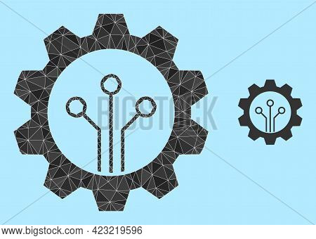 Lowpoly Gear Sensor Icon On A Sky Blue Background. Polygonal Gear Sensor Vector Is Constructed From