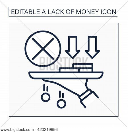 Money Line Icon. Hand Hold Tray Of Cash, Coins. Loses Saving Cash.poverty Concept. Isolated Vector I