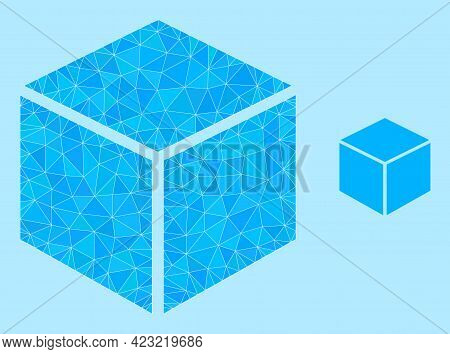 Low-poly Sugar Cube Icon On A Light Blue Background. Polygonal Sugar Cube Vector Is Designed From Sc