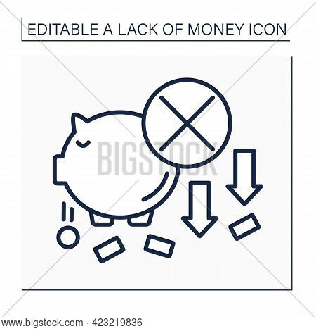 Money Line Icon. Piggybank. Loses Cash And Coins From Moneybox. Economy Poverty Concept. Isolated Ve