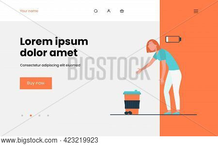 Caffeine Addicted Person. Tired Woman Reaching Hands To Takeaway Coffee Cup Flat Vector Illustration