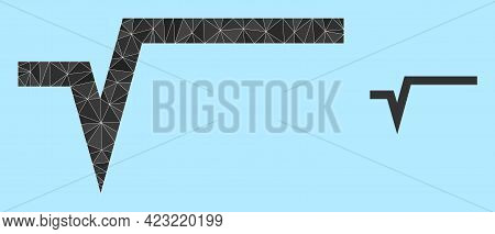 Lowpoly Square Root Icon On A Light Blue Background. Polygonal Square Root Vector Is Constructed Wit