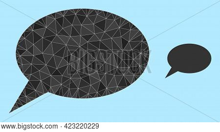 Low-poly Forum Message Icon On A Light Blue Background. Polygonal Forum Message Vector Filled Of Cha