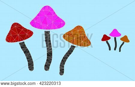 Lowpoly Psychedelic Mushrooms Icon On A Light Blue Background. Polygonal Psychedelic Mushrooms Vecto
