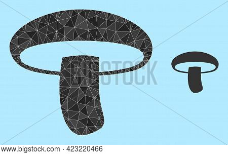 Lowpoly Mushroom Icon On A Light Blue Background. Polygonal Mushroom Vector Is Constructed Of Chaoti