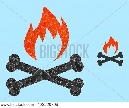 Lowpoly Hell Fire Bones Icon On A Sky Blue Background. Polygonal Hell Fire Bones Vector Filled Of Ch