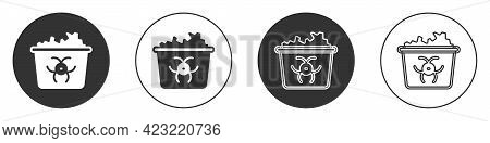 Black Infectious Waste Icon Isolated On White Background. Tank For Collecting Radioactive Waste. Dum