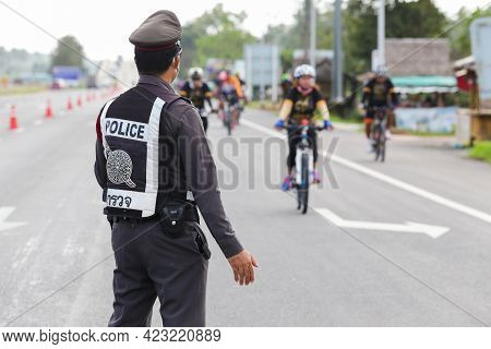 January 22th 2017,suratthani,thailand : The Traffic Police On The Street At Suratthani,road,thailand