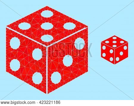 Low-poly Dice Cube Icon On A Sky Blue Background. Polygonal Dice Cube Vector Is Constructed With Sca