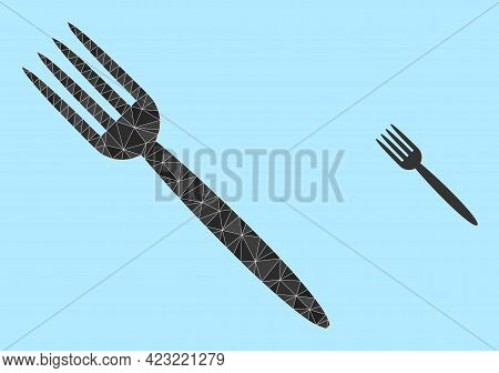 Lowpoly Fork Icon On A Sky Blue Background. Polygonal Fork Vector Combined Of Chaotic Triangles. Tri