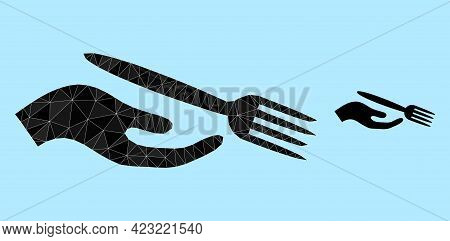 Lowpoly Dining Etiquette Icon On A Light Blue Background. Polygonal Dining Etiquette Vector Is Const