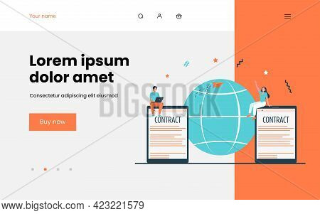 Business Partners Signing Contract Online. World, Globe, Digital Devices Flat Vector Illustration. W