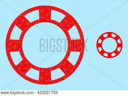 Lowpoly Casino Chip Icon On A Sky Blue Background. Polygonal Casino Chip Vector Is Combined Of Rando