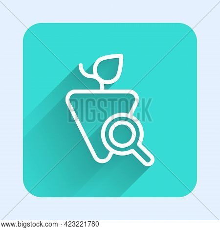 White Line Grapes Icon Isolated With Long Shadow Background. Selection Of Grapes. Green Square Butto