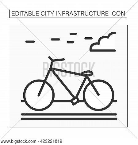 Bicycle Line Icon. Bikeway With Lanes On Road For Cyclists Only. Outdoor Bicycle Movement. Outline D