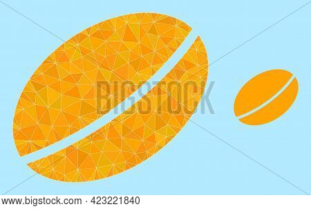 Low-poly Wheet Seed Icon On A Sky Blue Background. Polygonal Wheet Seed Vector Is Constructed With S