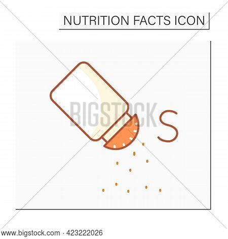 Salt Color Icon. Sodium Chloride.nutrient Supplements. Nutrition Facts. Healthy, Balanced Nutrition