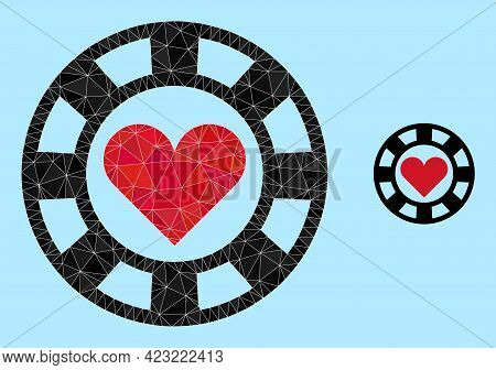 Lowpoly Hearts Casino Chip Icon On A Sky Blue Background. Polygonal Hearts Casino Chip Vector Design