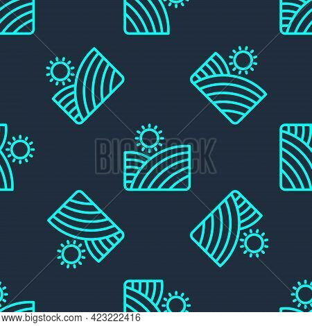 Green Line Vineyard Wine Grapes Hills Farm Icon Isolated Seamless Pattern On Blue Background. Vine P
