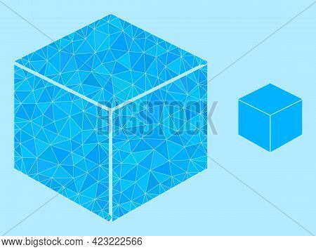 Lowpoly Sugar Cube Icon On A Light Blue Background. Polygonal Sugar Cube Vector Is Filled From Rando