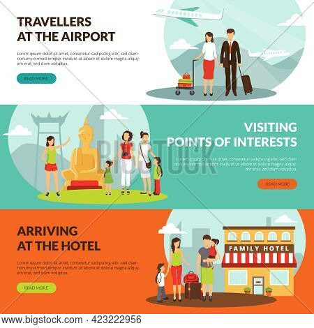 Travelers At Airport In Hotel And Sightseeing Excursion Horizontal Banners Set For Tourists Webpage