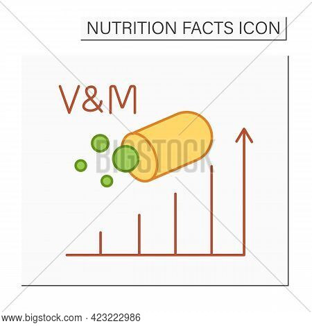 Vitamins And Minerals Content Color Icon.energy Value. Multivitamin. Nutrition Facts. Nutrient Suppl