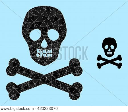 Lowpoly Death Skull Icon On A Light Blue Background. Polygonal Death Skull Vector Is Filled From Ran