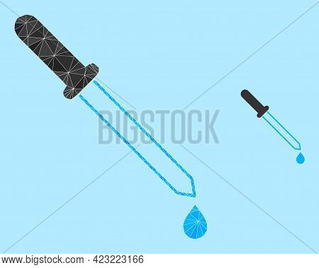 Lowpoly Pipette Icon On A Sky Blue Background. Polygonal Pipette Vector Is Filled From Random Triang