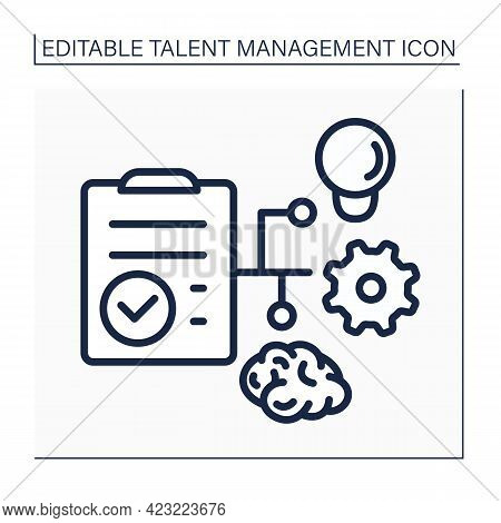Workforce Planning Line Icon. Checklist. Plan Realizing. Career Growth. Talent Management Concept. I