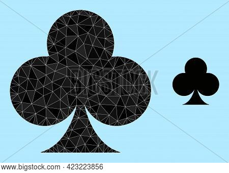 Lowpoly Playing Card Club Suit Icon On A Sky Blue Background. Polygonal Playing Card Club Suit Vecto