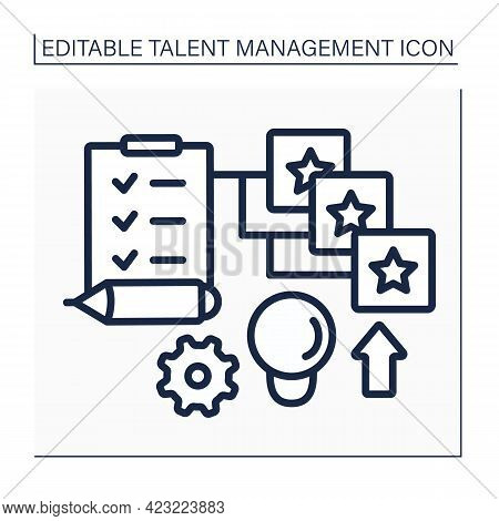Competency Models Line Icon. To Do List. Career Planning. Development And Improving Skills.talent Ma