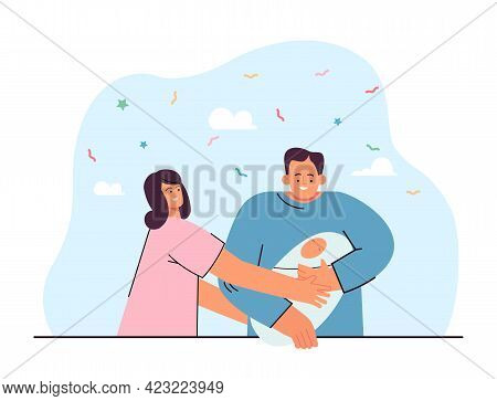 Wife Giving Newborn Baby To Her Husband Flat Vector Illustration. Happy Couple After Maternity Hospi
