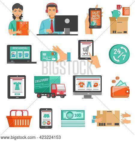 E-commerce Icons Set. Online Shopping Vector Illustration. E-commerce Flat Symbols. Internet Shoppin