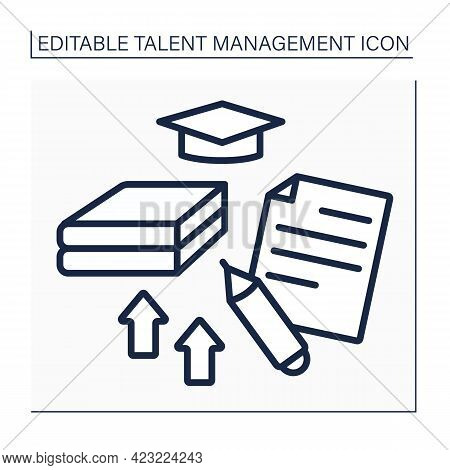 Training Line Icon. Improving Skills And Knowledge. Self-improvement. Learning New Information. Tale