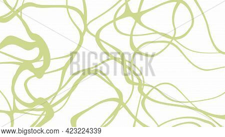 Random Green Lines And Outlines On A White Background. Abstract Vector Illustration.