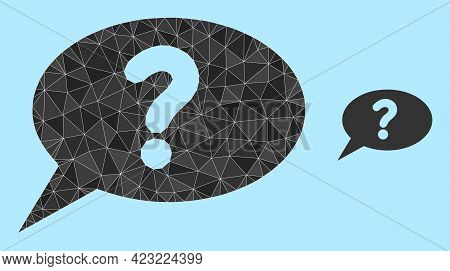 Lowpoly Unknown Message Icon On A Sky Blue Background. Polygonal Unknown Message Vector Is Construct