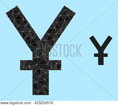 Lowpoly Yuan Currency Icon On A Sky Blue Background. Polygonal Yuan Currency Vector Filled Of Chaoti