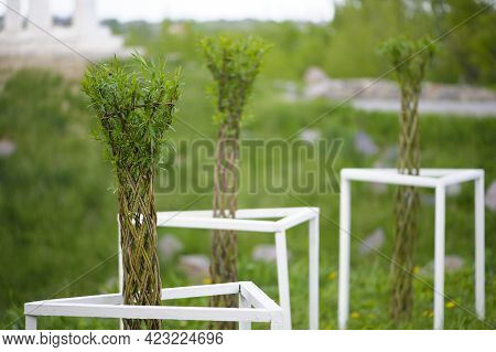 Artificial Bamboo Branches. Tender Spring Leaves In The Garden. Home Decoration. Interior Design Obj