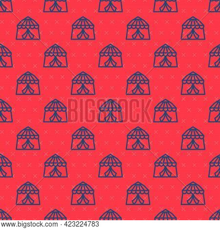 Blue Line Circus Tent Icon Isolated Seamless Pattern On Red Background. Carnival Camping Tent. Amuse