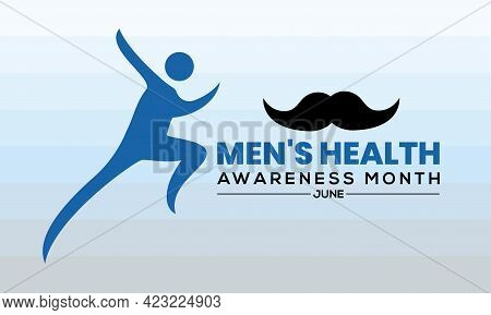 Men's Health Awareness Month In June. Banner, Greeting Card, Background Template In Medical Health A
