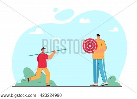 Father Holding Dartboard And Son Holding Dart. Dad And Son Spending Time Together, Plying Darts Flat