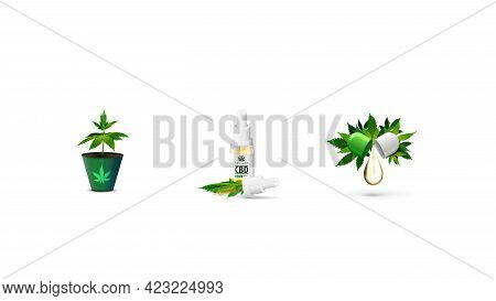 Set Of Volumetric Cannabis Icons Isolated On White Background. Cannabis Sprout In A Pot, Cbd Oil And