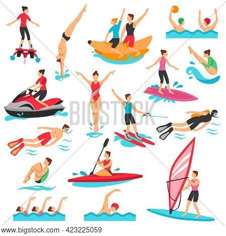 Water Sport Icons Set. Water Sport Vector Illustration. Water Sport Decorative Set.  Water Sport Des