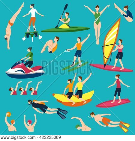 Water Activities Icons Set. Water Sport Vector Illustration. Water Sport Decorative Set.  Water Spor